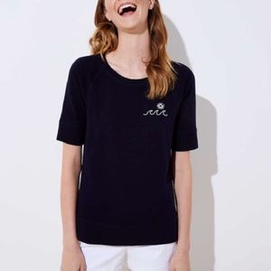 Ann Taylor Tee with Embroidered Wave, Sz S